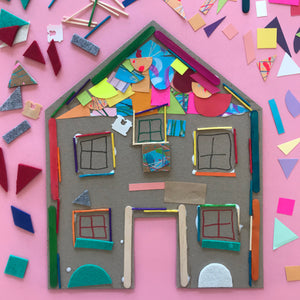Kids collage house art project