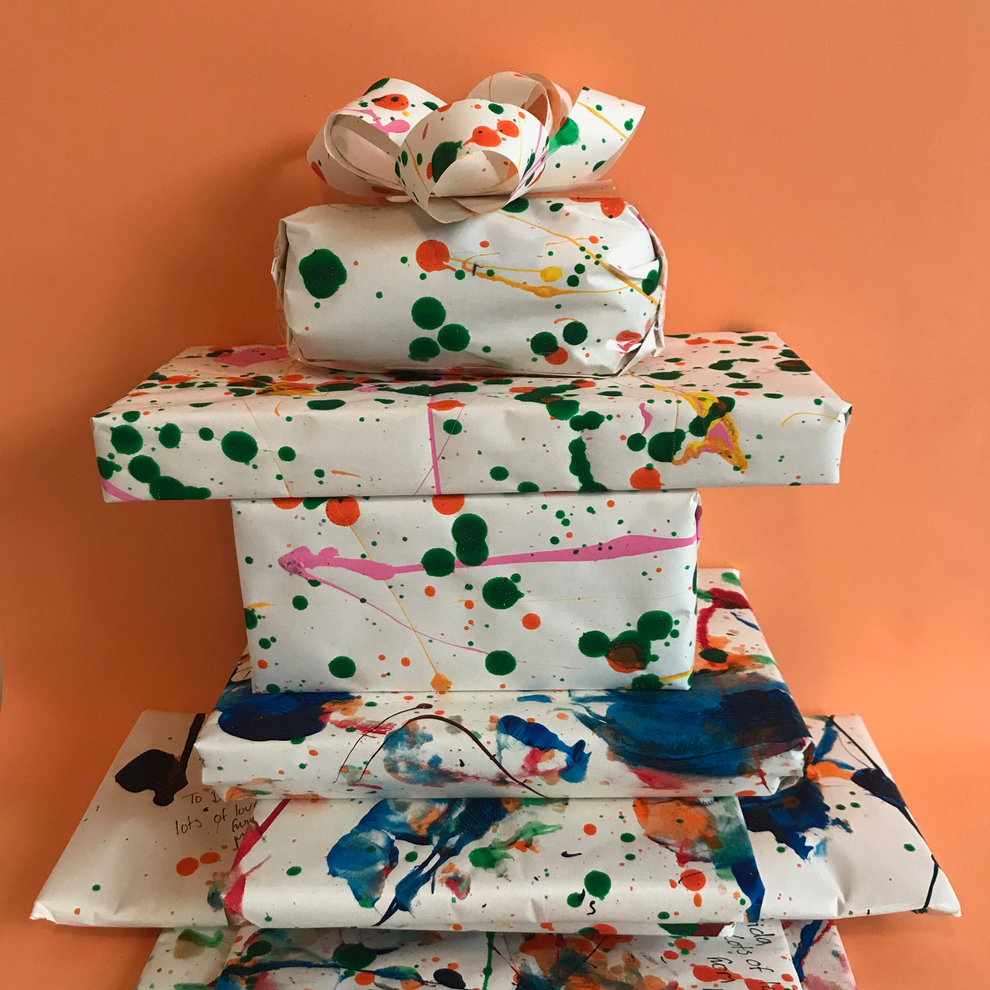 Childrens art homemade wrapping paper