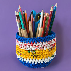 recycled plastic bags made into a crochet basket