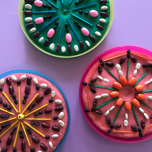 Play dough and small parts mandala patterns kids activity