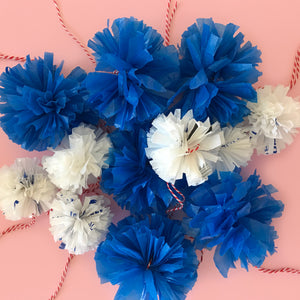 Pom Poms made from up-cycled plastic bags