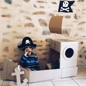 Up-cycled cardboard box pirate ship for dramatic play