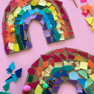Colourful ranibow paper collage children'e craft activity