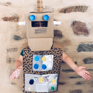 DIY robot fancy dress costume made from cardboard boxes