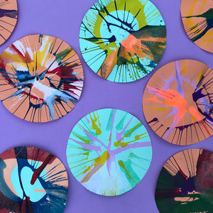 Fun process art for kids, spin art painting