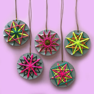 wrapped yarn woven star christmas decoration craft