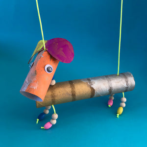 kids crafts, toilet roll marionette puppets