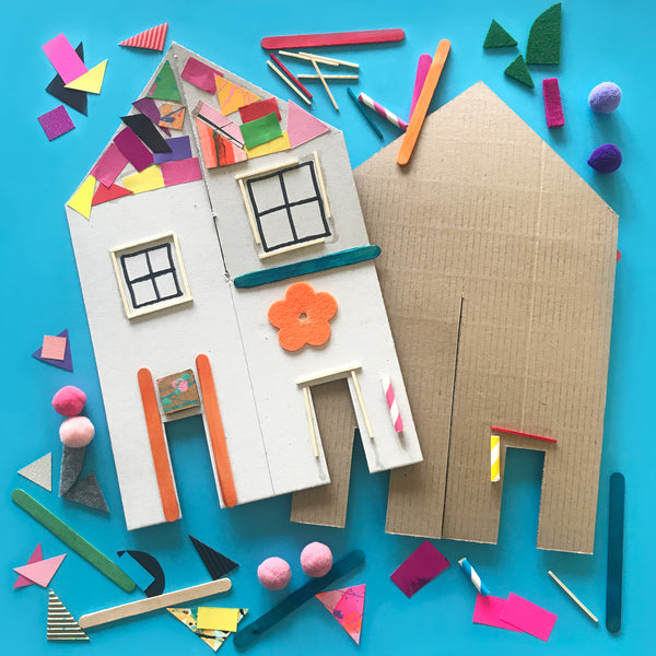 Collage house shapes kids craft activity