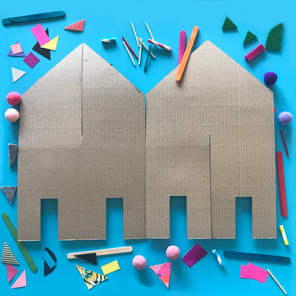 cardboard house shapes for making 3D collage houses