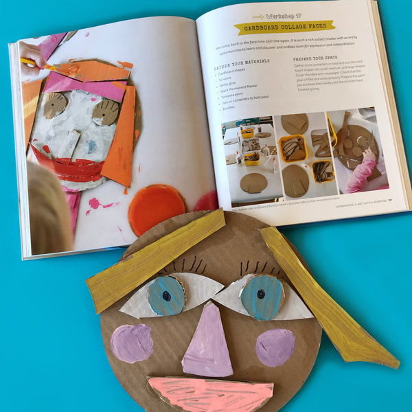 cardboard collages faces kids craft activity