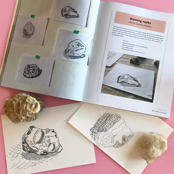 rock drawing project in a book for kids