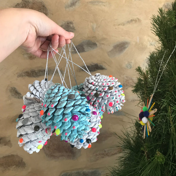 Christmas craft painted pine cone decorations