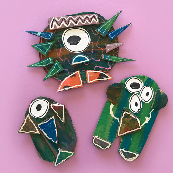 painted cardboard collage monsters and aliens craft project