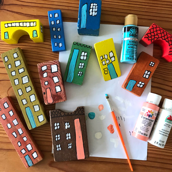 Make your own wooden building block city