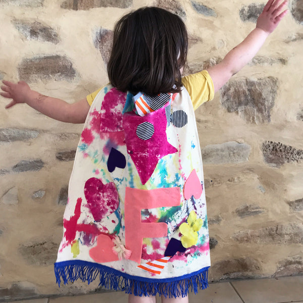 colourful painted fabric cape kids art project
