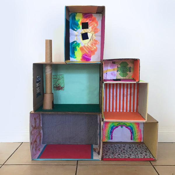 Make your own cardboard box dolls house