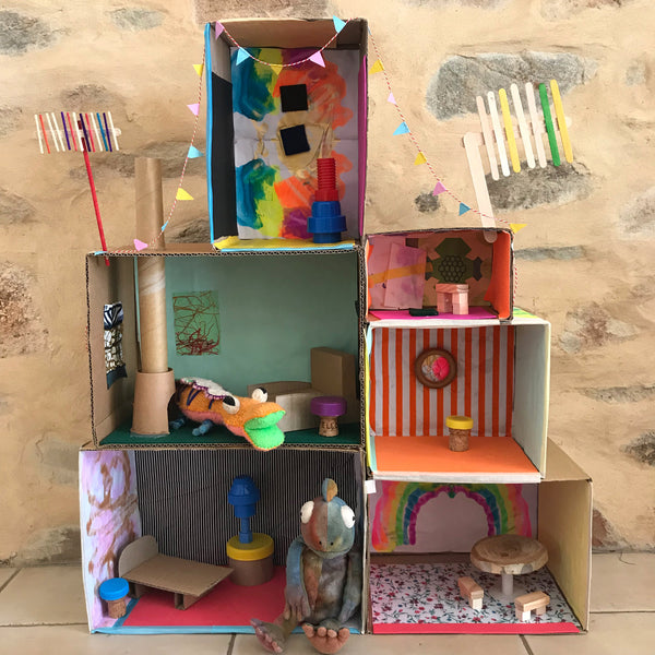 DIY cardboard box dolls house kids craft project