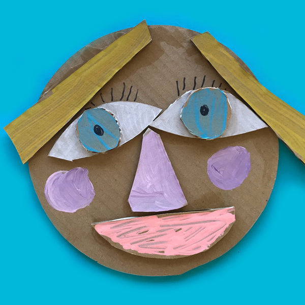 cardboard collage face kids craft project for children