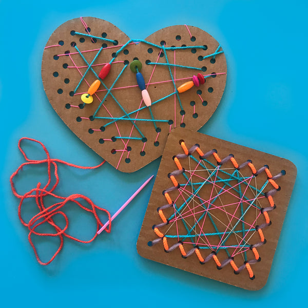 cardboard threading cards kids weaving project