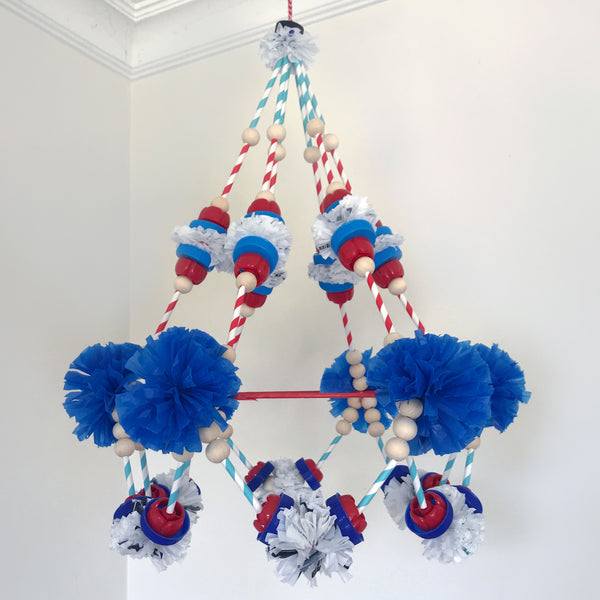 Polish pajaki chandelier made using recycled materials