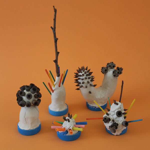 Kids cactus garden clay sculptures