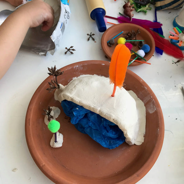 terracotta saucer and air drying clay