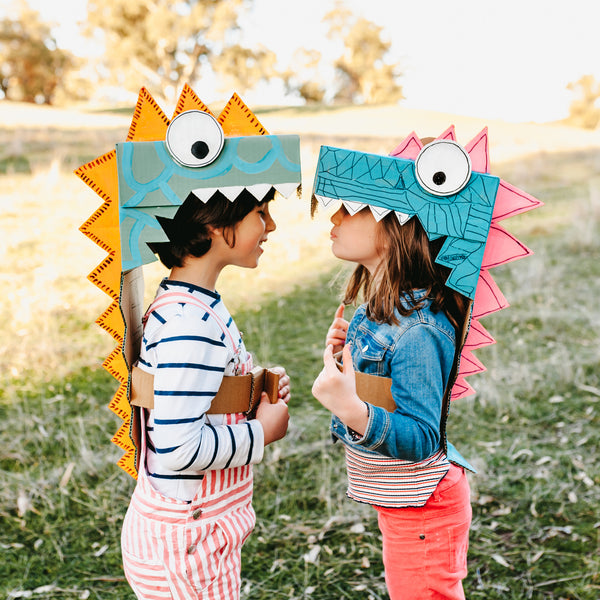 DIY dinosaur dress up costumes made from cardboard boxes
