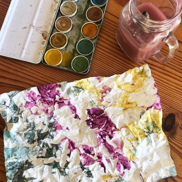 crumpled paper art and water colour paints