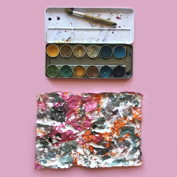 Nawaro natural watercolour paints and crumpled paper art