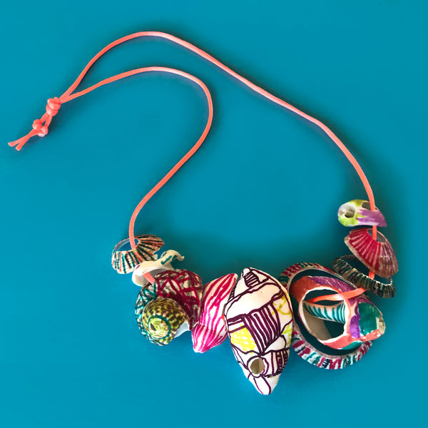 decorated shell necklace kids art project