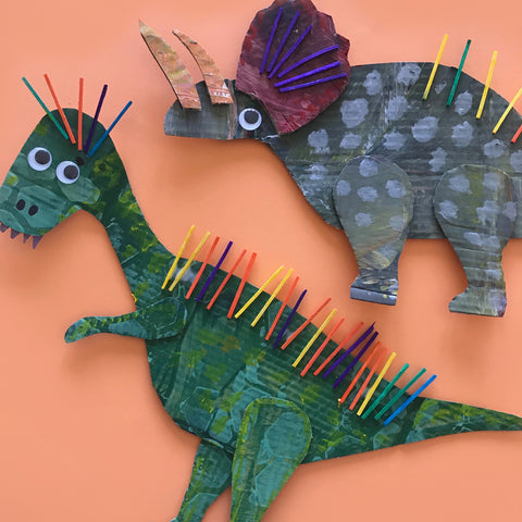 Dinosaur collage kids crafts by Mini Mad Things
