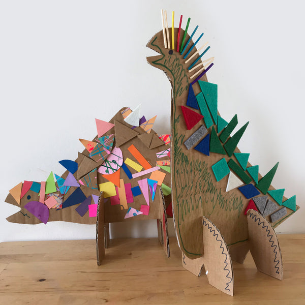 3D collage dinosaurs made from cardboard