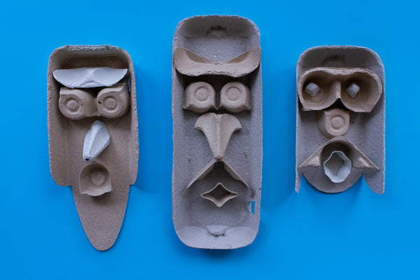 funny faces made from egg cartons