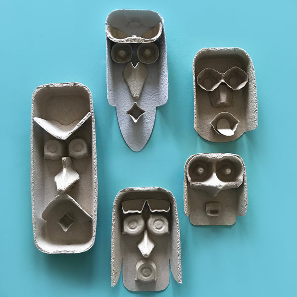 Egg carton heads kids craft project