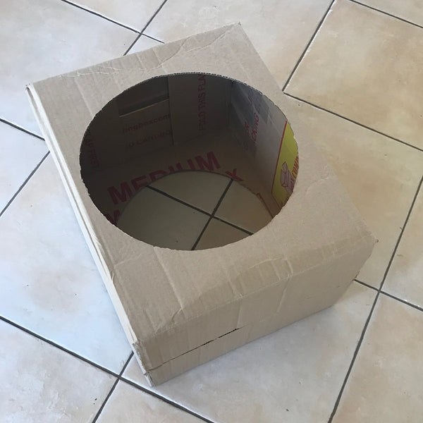 a large cardboard box with a hole cut in the top