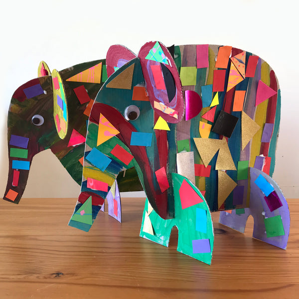 collage Elmer elephand kids craft project by Mini mad things