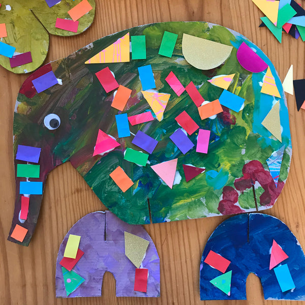 colourful collage elmer the elephant children's craft project