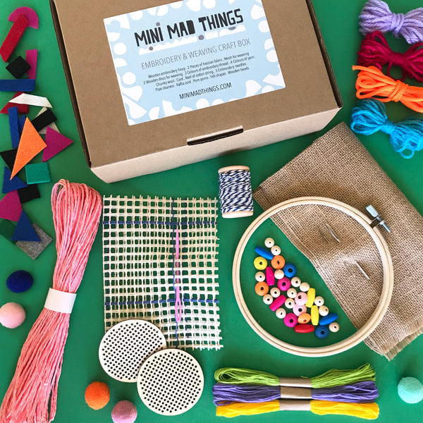 Embroidery and weaving kids craft box