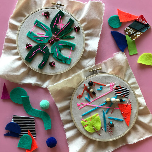 Children's embroidery textile art craft project