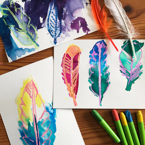 wax crayon and liquid watercolour painted feathers kids art project