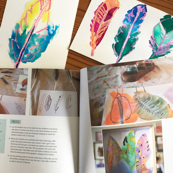painted feathers and the book drawing workshop for kids