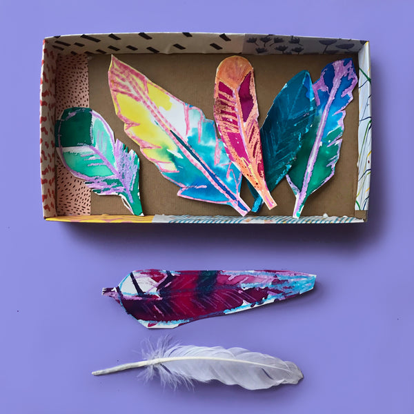 painted leaves in a box kids art project