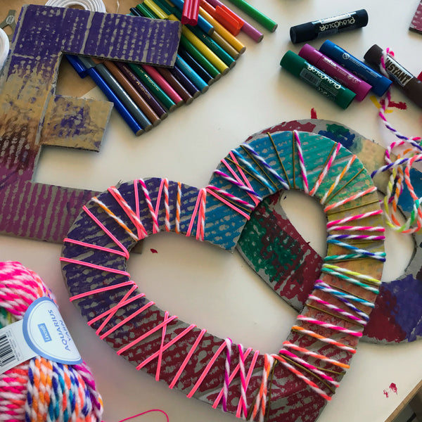 Kids crafts yarn wrapped letters and hearts