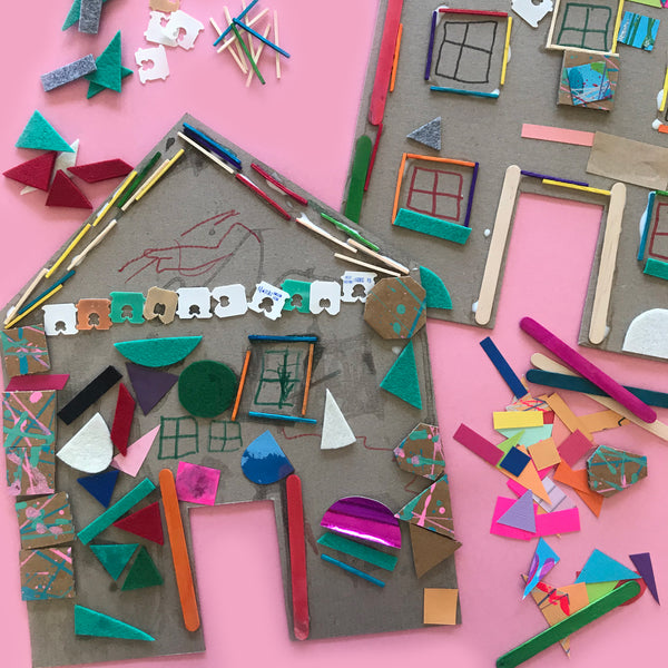Children's open-ended collage house art project