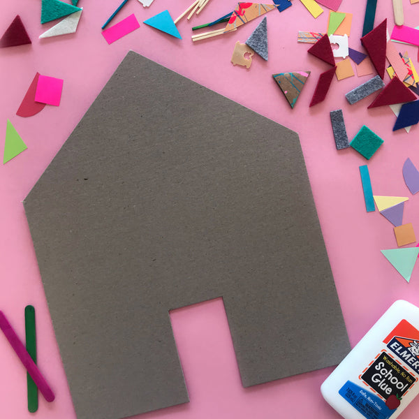 cardboard house template and collage materials