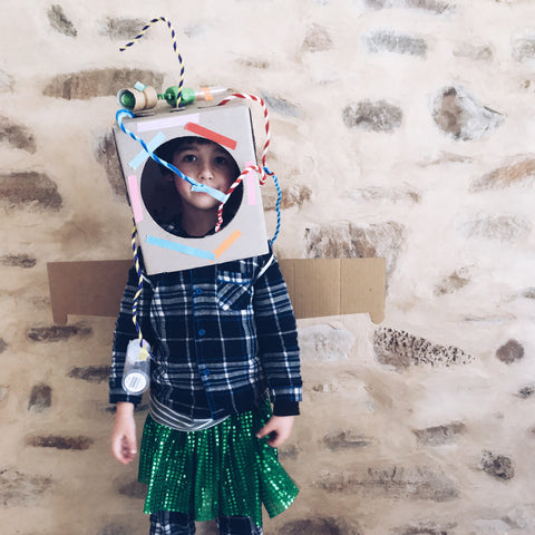 Cardboard box jet pack and space helmet kids DIY fancy dress costume