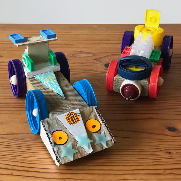 toy cars make from up-cycled junk materials