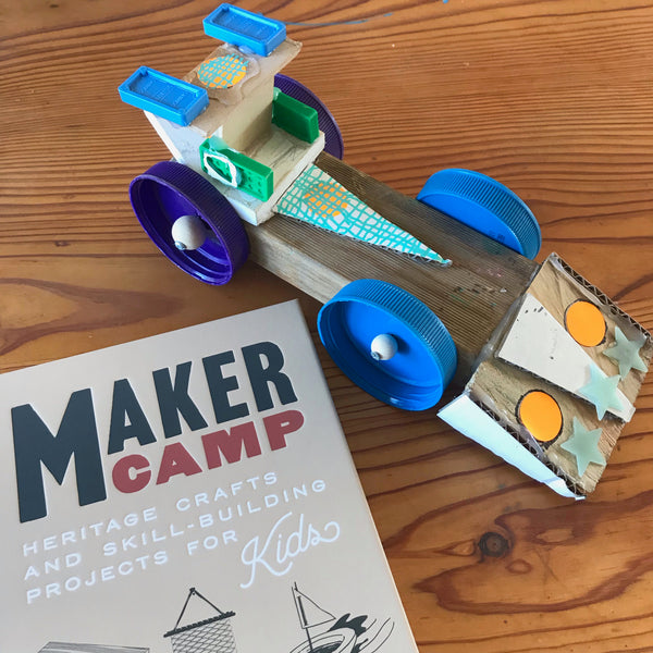 up-cycled junk toy car project inspired by the book Maker camp