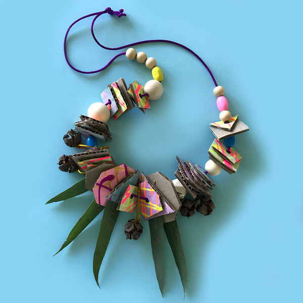 up-cycled junk nature necklaces children's craft activity
