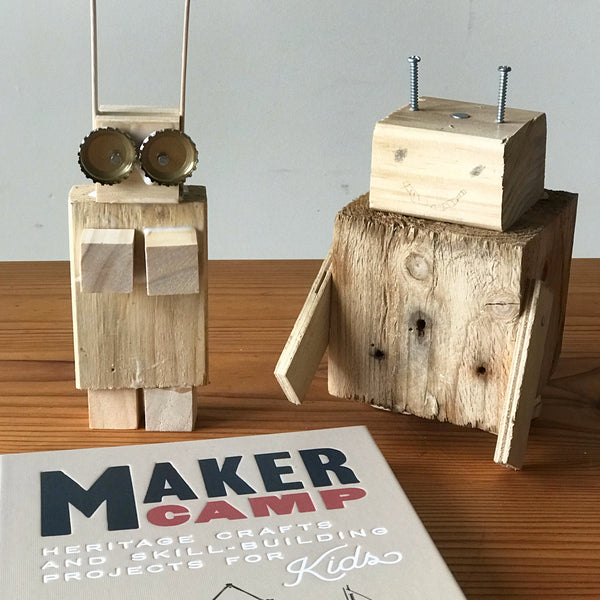Maker camp kids activty book and wooden robots